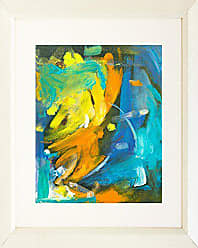 Buyartforless Buyartforless Framed Contrast of Colors I by Elizabeth Stack 16x20 Matted Art Print Poster Abstract Colorful Painting Blue Yellow Orange