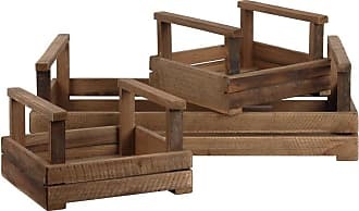 Benzara BM180557 Wooden Tray with Rope Handle Brown Set of Two One Size