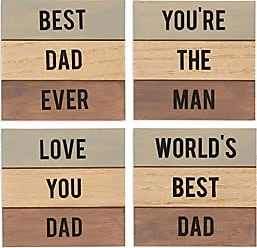 Pavilion Gift Company 14304 Set Of 4 4.5 Inch Dad Drink Coasters Blue