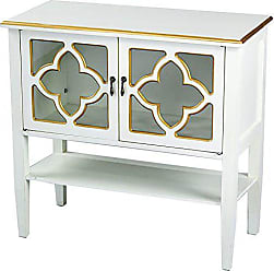 Heather Ann Creations Modern 2 Door Accent Console Cabinet with 4 Pane Clover Glass Insert and Bottom Shelf Antique White/Gold Trim