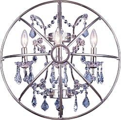 Elegant Furniture & Lighting Elegant Lighting Geneva 1130 Wall Sconce Cut Silver Shade Crystals - 1130W21DB-SS/RC