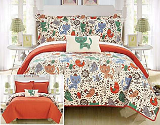 Chic Home Trixie 4 Piece Reversible Quilt Set Cute Animal Friends Youth Design Coverlet Bedding - Decorative Pillow Shams Included Size Full Orange