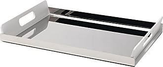 Alessi Vassily Rectangular Tray in 18/10 Stainless Steel Mirror Polished With Handles in Thermoplastic Resin, White