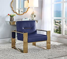 Iconic Home Colton Modern Contemporary Sculptural Polished Brass - Finished Stainless Steel Leatherette Accent Chair, Navy