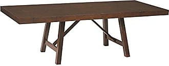 Standard Furniture Omaha Trestle Dining Table with two 13 Leaves, Saddle Brown