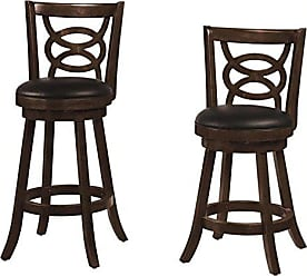 Coaster 24 Swivel Counter Stools with Upholstered Seat Espresso and Black (Set of 2)