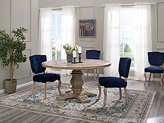 ModWay EEI-3493-BRN Column 59 Round Pine Wood Dining Table Brown