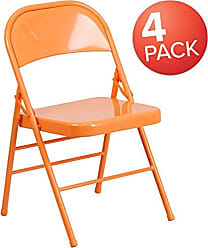 Flash Furniture 4 Pk. HERCULES COLORBURST Series Orange Marmalade Triple Braced & Double Hinged Metal Folding Chair