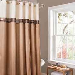 Lush Décor Terra Color Block Shower Curtain Fabric Striped Neutral Bathroom Decor, 72-Inch Beige/Ivory