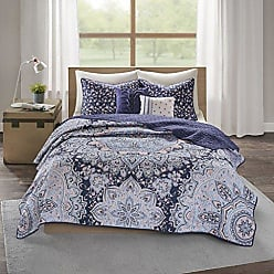 INTELLIGENT DESIGN Odette Ultra Soft Printed Microfiber Bohemian Boho Reversible 5 Piece Quilt Coverlet Bedspread Bedding Set, Full/Queen Size, Blue
