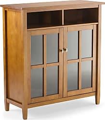 Simpli Home Warm Shaker Solid Wood Medium Storage Media Cabinet in Honey Brown