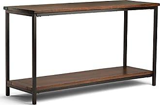 Simpli Home Simpli Home 3AXCSKY-04 Skyler Solid Mango Wood 54 inch Wide Modern Industrial Console Sofa Table in Dark Cognac Brown