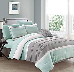 Sweet Home Collection Comforter 8 Piece Decorative Printed Soft and Luxurious Bedding with Sheet Set, Shams, and Decorative Pillow, King, New Haven-Mint