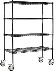 Salsbury Industries Mobile Wire Shelving Unit, 60-Inch Wide by 80-Inch High by 18-Inch Deep, Black