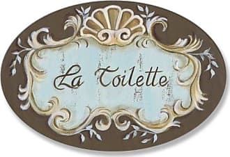 The Stupell Home Décor Collection Stupell Home Décor La Toilette Aqua And Brown Scallop Shell Crest Oval Bathroom Wall Plaque, 10 x 0.5 x 15, Proudly Made in USA