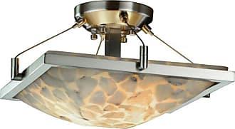 Justice Design Alabaster Rocks! Ring ALR-9780-25 Semi Flush Mount Light - ALR-9780-25-NCKL-LED2-2000
