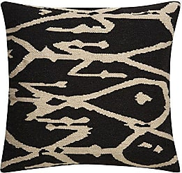 Jaipur Tribal Pattern Gray/Ivory Wool and Cotton Poly Filled Pillow, 20 x 20, Raven/White Swan