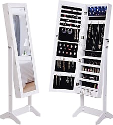 Costway Mirrored Jewelry Armoire Lockable Storage Cabinet with Lights