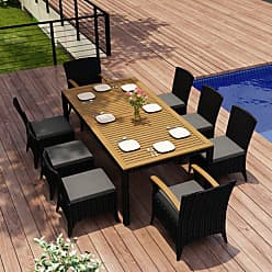Harmonia Living Outdoor Harmonia Living Arbor Patio Dining Set - Seats 8 Sunbrella Spectrum Peacock - HL-AR-CB-9DS-PC
