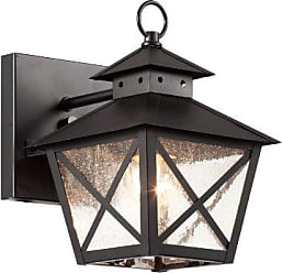 Trans Globe Lighting Trans Globe Lighting 40170 BK Outdoor Wall Light with Seeded Glass Shade, Black Finished