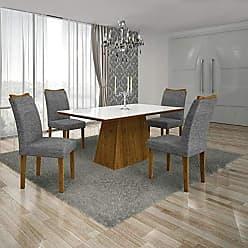 Leifer Conjunto Sala de Jantar Mesa Tampo MDF/Vidro Branco 4 Cadeiras Pampulha Leifer Canela/Linho Cinza