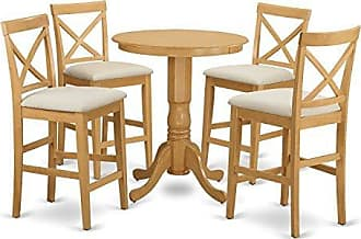 East West Furniture EDPB5-OAK-C 5 Piece Pub Table and 4 Counter Height Chairs Set