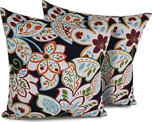 TK Classics Villa Floral Square Outdoor Throw Pillows - Set of 2 - PILLOW-VILLAFLOR-18X18-2X