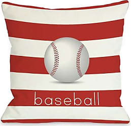 One Bella Casa Baseball Throw Pillow by OBC, 16x 16, Red/Orange