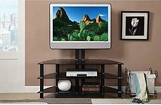 Benzara BM166690 Metal & Glass TV Stand Black