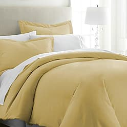 iEnjoy Home Beckham Luxury Soft Brushed 1800 Series Microfiber Duvet Cover Set - Hypoallergenic, King, Gold