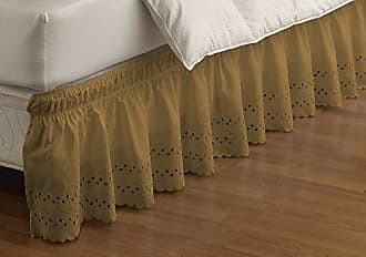 Ellery Homestyles EASY FIT Eyelet Wrap Around Easy On/Off Dust Ruffle 15-Inch Drop Bedskirt, Queen/King, Gold