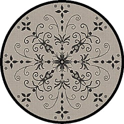 Dynamic Rugs Piazza Vente Round Indoor/Outdoor Area Rug - Sand/Black - PZR525833901