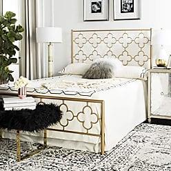 Safavieh FOX6297A-F Morris Lattice Metal Bed, Full, Antique Gold