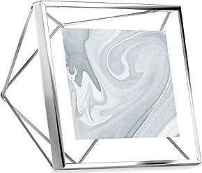 Umbra Prisma Picture Frame, 4x4 Photo Display for Desk or Wall, Chrome