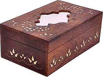 Benzara BM123976 Handcrafted Wooden Cover with Brass Inlay Tissue Box, Brown