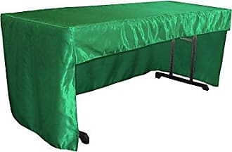 LA Linen Fitted Bridal Satin Tablecloth 96 by 30 by 30-Inch Green Kelly