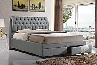 Wholesale Interiors Baxton Studio BBT6423-Grey-King Ainge Contemporary Button-Tufted Fabric Upholstered Storage Bed with 2 Drawers, King, Grey