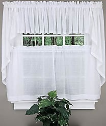 United Curtain Dorothy Window Curtain Swiss Dot Tiers, 54 X 24, White