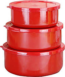 Reston Lloyd Calypso Basics by Reston Lloyd 6-Piece Enamel on Steel Bowl/Storage Set, Red