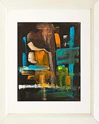 Buyartforless Buyartforless Framed Contrast of Colors IV by Elizabeth Stack 16x20 Matted Art Print Poster Abstract Colorful Painting Brown Blue Orange