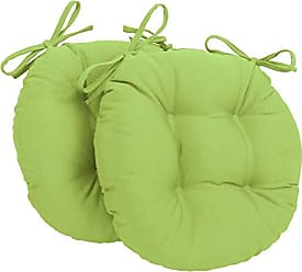 Blazing Needles Solid Twill Round Tufted Chair Cushions (Set of 2), 16, Mojito Lime