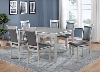 Round Hill Furniture Avignor 7 Piece Contemporary Dining Table Set - T216-C215-C215-C215