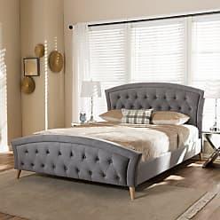 Baxton Studio Hannah Velvet Upholstered Platform Bed, Size: King,Queen - CF8730-GREY-QUEEN