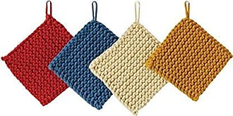 Creative Co-op Creative Co-Op Square Cotton Crocheted Pot Holders (Set of 4 Colors)