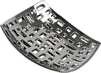 Urban Trends Collection Urban Trends Ceramic Square Concave Tray with Perforated Design Polished Chrome Finish, Silver