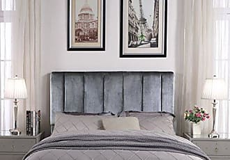 Iconic Home FHB9049-AN Uriella Headboard Velvet Upholstered Vertical Striped Modern Transitional, King, Grey