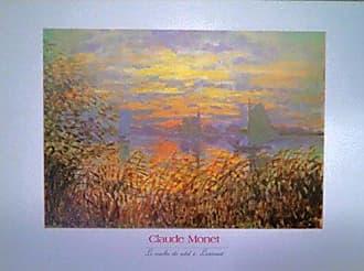 Buyartforless Buyartforless Sunset at Lavacourt (Tramonto A Lavacourt) by Claude Monet 28x20 Art Print Poster Wall Decor Museum Masters Coastal Orange Skies