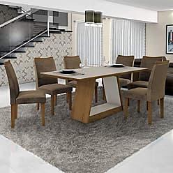 Leifer Conjunto Sala de Janta Mesa Tampo Off White 6 Cadeiras Pampulha Leifer Imbuia Mel/Off White
