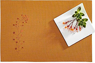 Restaurantware RWA0428 Carmel Mesh Autumn Orange Vinyl Woven Placemat with Embroidered Blossoms 16 x 12 6 count box, 16.0L x 12.0W x 0.2H
