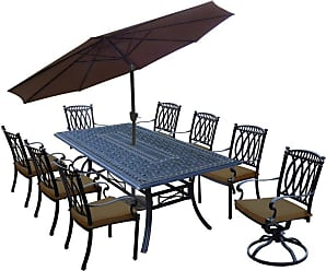 Oakland Living Outdoor Oakland Living Morocco Aluminum 11 Piece Patio Dining Set with Umbrella Light Brown Light Brown - 7207T-7215C6-7216S2-D56-405CPBK-36-19-AB